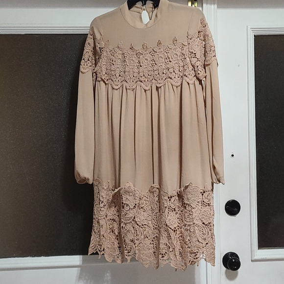 ASOS Dresses & Skirts - Asos Beige lace long sleeve dress.